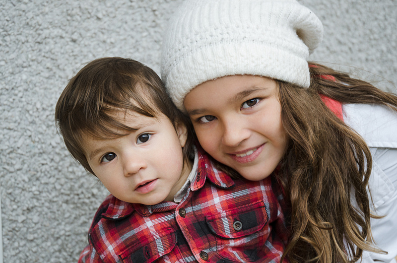 A sweet image of a brother and sister during their outdoor child portrait session in montreal