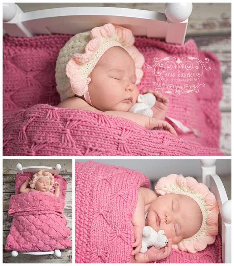 A triptych of a newborn baby girl in a little bed cuddling a stuffy during her newborn photography session with Tanis Saucier Photography