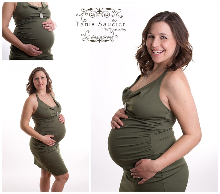 A triptych of a beautiful pregnant woman during her studio maternity photography session with Tanis Saucier Photography