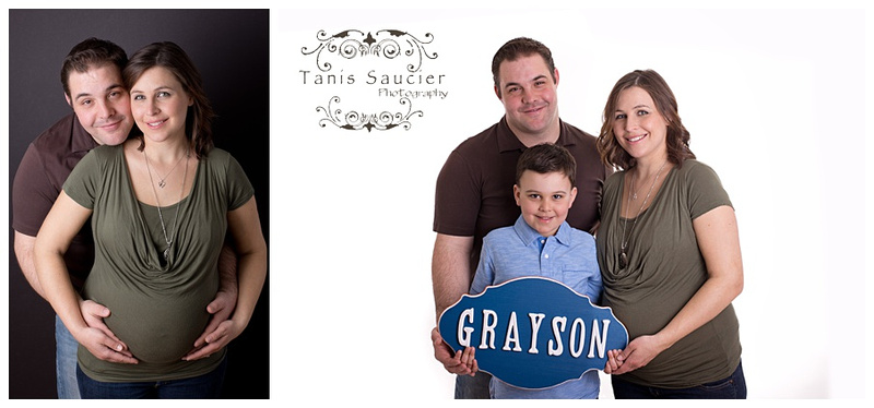 A collage of a family of three as they await the arrival of the newest addition during a maternity photo session with Tanis Saucier Photography in Montreal