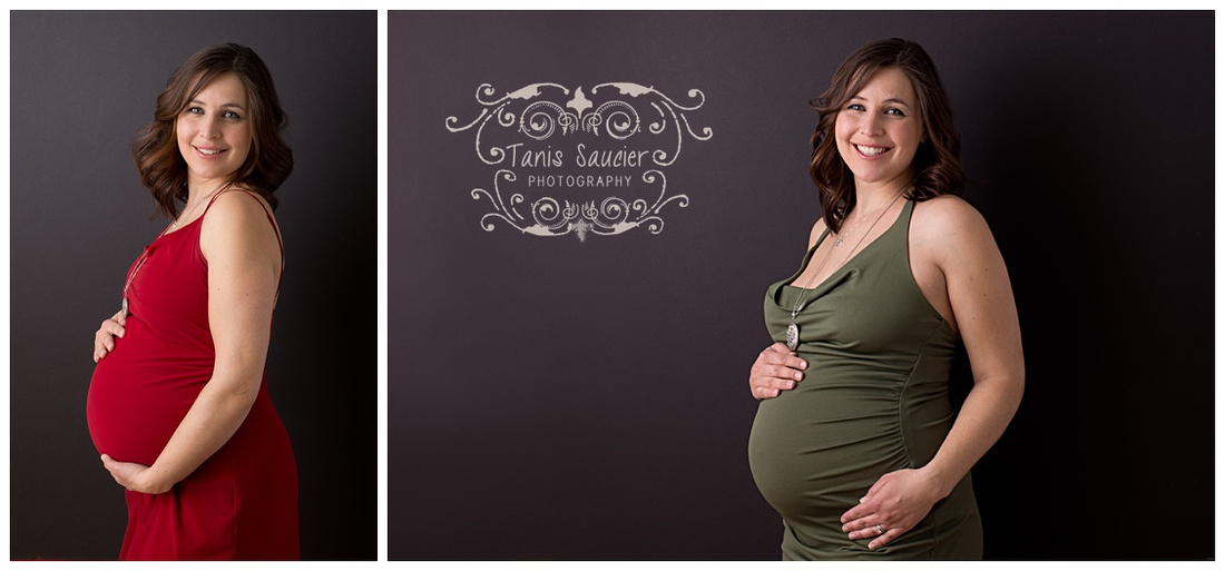 A stunning duo of images of a beautiful mother-to-be during her maternity photography session with Tanis Saucier Photography