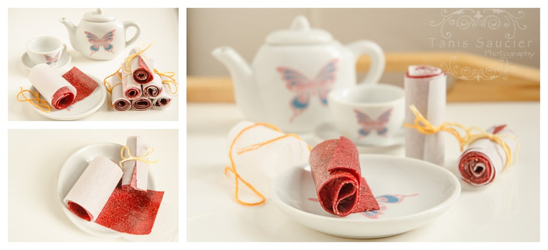 A collage of images showing a cute toy tea setting with homemade fruit roll ups.