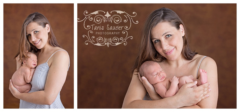 A sweet collage of a mama and her newborn baby boy cuddling together.