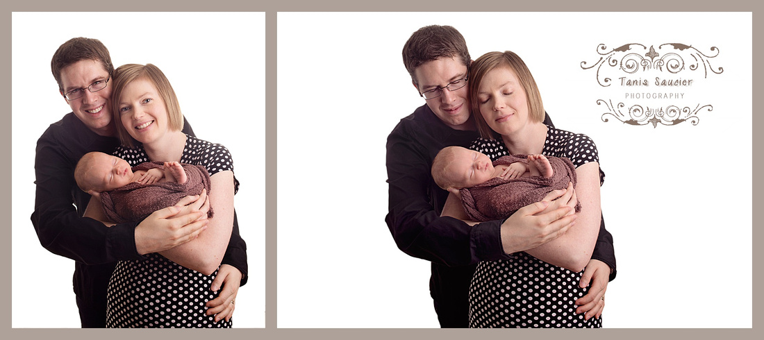 A collage of a newborn baby girl being cuddled by her parents embrace.