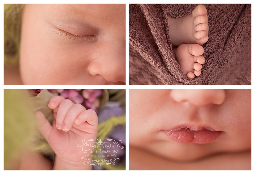 macro close ups of a newborn baby girl during her photo session in Montreal with Tanis Saucier Photography