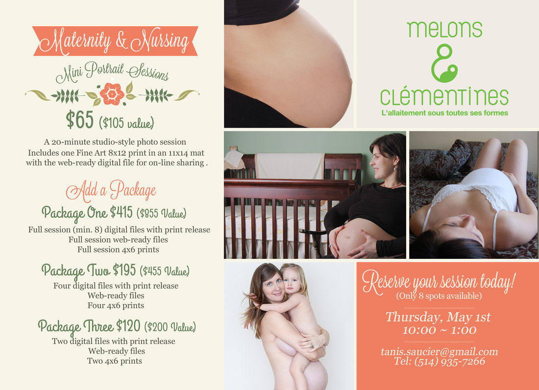 A gorgeous poster displaying an upcoming portrait event at Melons and Clementines in Montreal to celebrate maternity and nursing