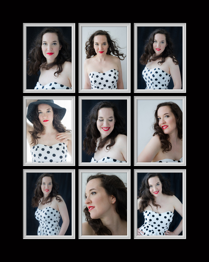 A nine-up image collage of a beautiful beauty session with a woman in a strapless dress rocking her natural light portrait beauty session