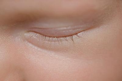macro image of newborn eyelashes