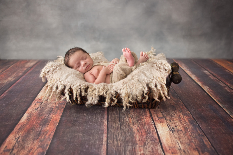 Sweet baby boy lounges in a soft felted basket during his newborn photo session in Montreal with Tanis Saucier Photography