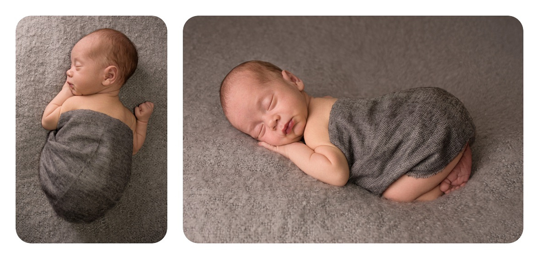 Collage of Newborn Baby Boy Bum Up in a Grey Wrap on Grey during his newborn photography session in Montreal with Tanis Saucier Photography. #newborninfantphotography #montrealnewbornphotographer