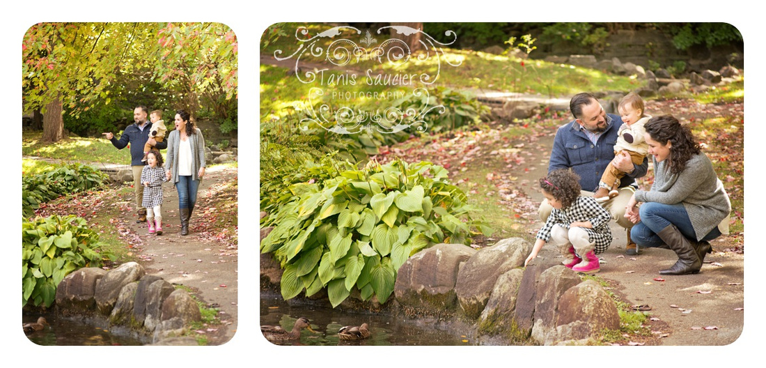 Collage of Family of Four Walking and Looking at the ducks in the Pond at Pratt Park