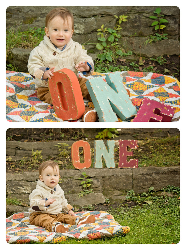 """Collage of one-year-old Boy Sitting on a Blanket with the Word """"One"""" in Pratt Park during a family portrait session with Tanis Saucier Photography in Montreal. #montrealfamilyphotographer #tanissaucierphotography"""