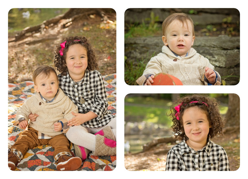 Collage of Big Sister with one-year-old Brother in Pratt Park during a family photo session with Tanis Saucier Photography in Montreal