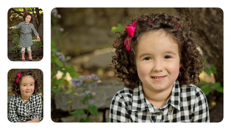 Collage of Expressive Big Sister with Curly Hair in Pratt Park with Tanis Saucier Photography. #montrealchildrensphotographer #montrealchildportraits