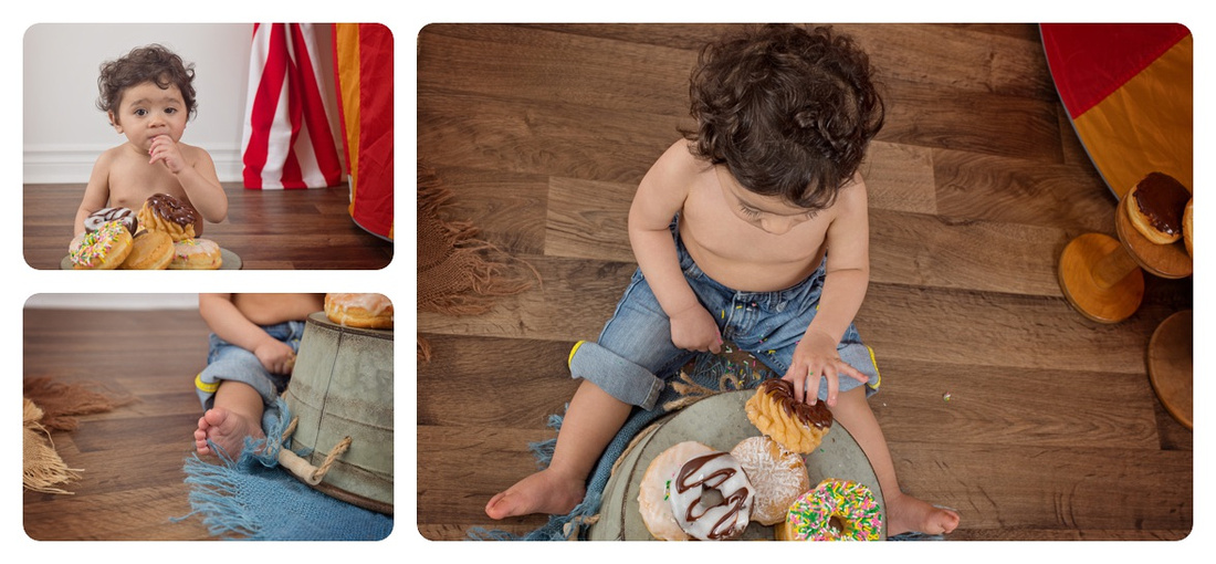 Collage of one-year-old Baby Boy Milestone with Donuts on an Overturned Bucket Circus Theme