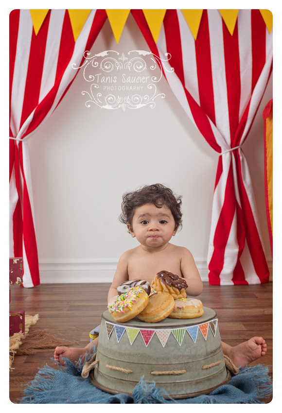 One-year-old Baby Boy Circus Themed Donut Smash