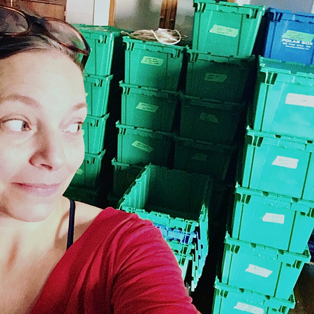 Tanis looks behind her at the empty moving boxes as she prepares to relocate her Maternity and Newborn Photography business, Tanis Saucier Photography, to Saint-Sauveur, Quebec