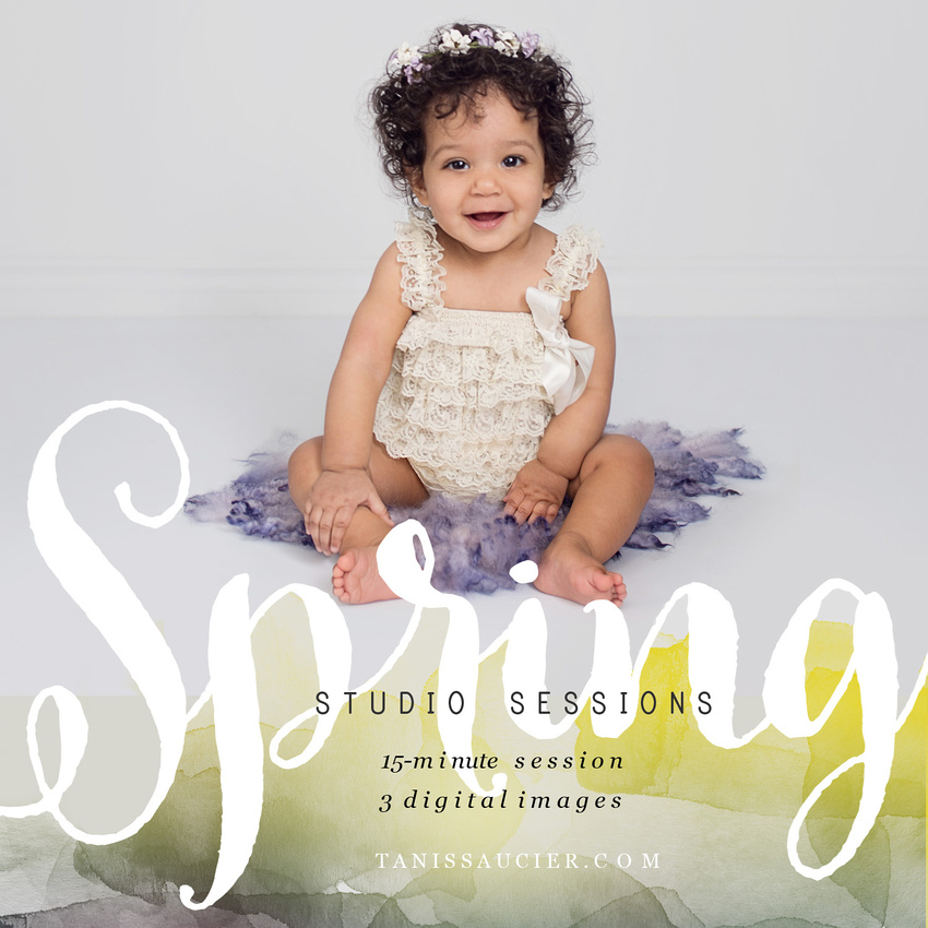 A promotional image of a sweet 7 month old baby girl sitting in a lace romper on a purple wool stuffer announcing the Children's Spring Studio Session Event with Tanis Saucier Photography in Montreal.