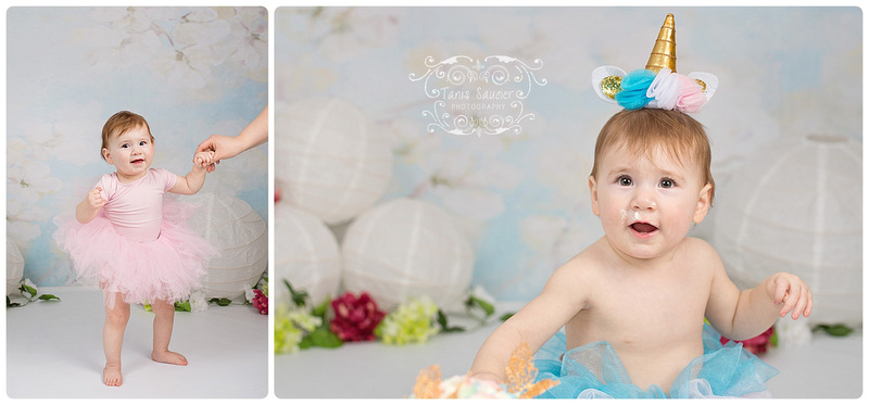 An adorable set of images of a one year old girl dressed in a pink tutu and unicorn crown, celebrating with a unicorn cake smash in montreal at Tanis Saucier Photography's studio. www.tanissaucier.com #montrealchildrensphotographer