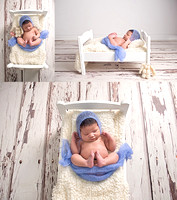a little newborn baby girl asleep on a white wood bed during her newborn photography session in montreal.