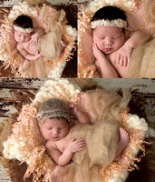 a collage of images of a sleeping newborn baby girl wrapped in a beige wrap and wearing a lace headband.