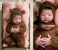 a cute little newborn baby girl is wearing a brown knit bear outfit and sleeping in a bed of pink fluff during her newborn photography session in montreal with tanis saucier.