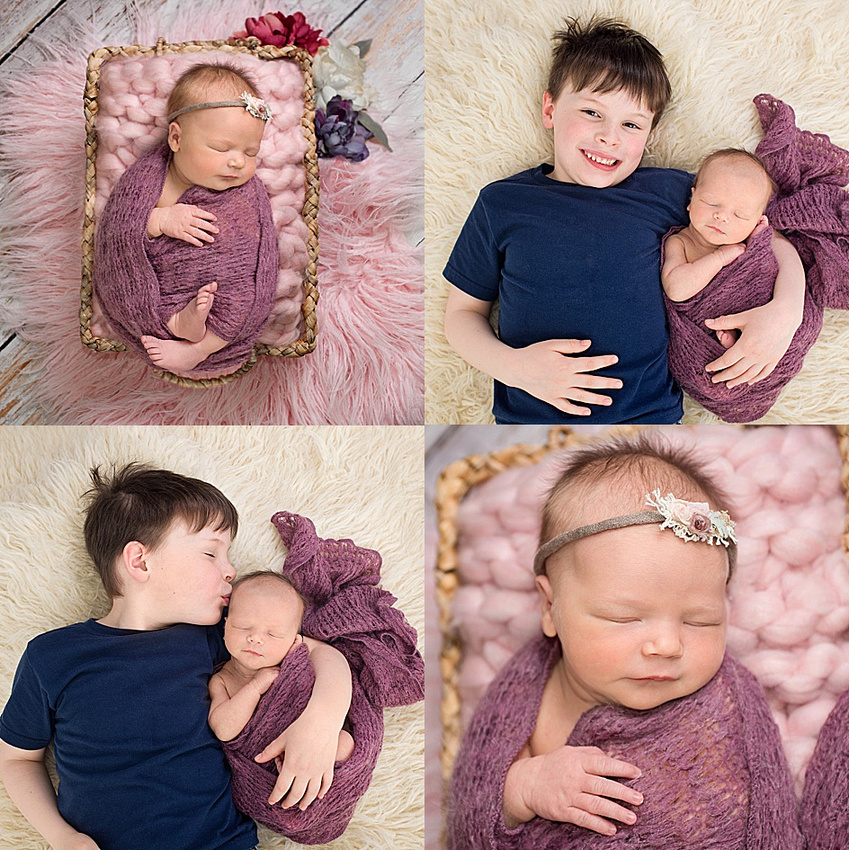 A collage of a newborn baby girl and her sweet big brother cuddling on a beige flokati rug during her newborn session in montreal with newborn photographer, tanis saucier