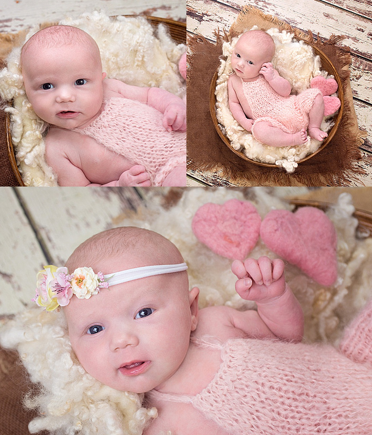 a sweet collage of a wide-eyed baby girl in a soft pink knit romper posed in a basket of white fluff during her newborn session in montreal with tanis saucier photography.