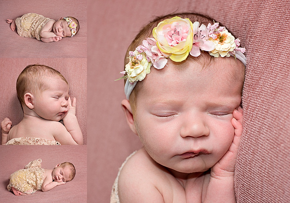 a collage of newborn baby girl images of her lying on a pink beanbag backdrop wearing a floral crown during her newborn photography session with tanis saucier.