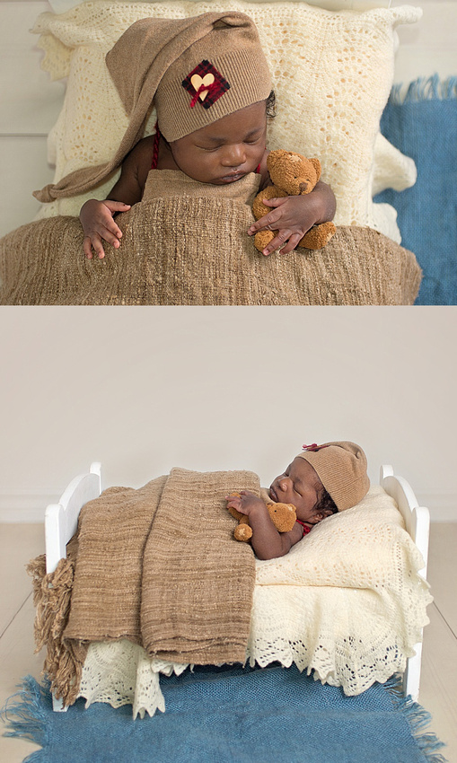 an adorable image of a newborn baby boy sleeping tucked into a little white bed prop wearing a sleepy cap and snuggling a teddy bear during his newborn photography session with Tanis Saucier in montre