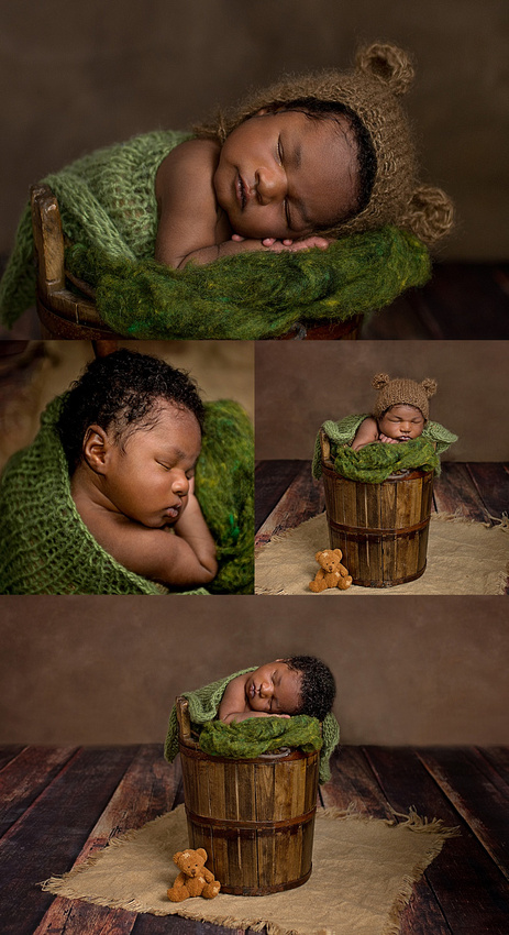 A collage of images of a black, newborn baby boy safely posed in a bucket wearing a bear bonnet during his newborn photo session with Tanis Saucier Photography in montreal.