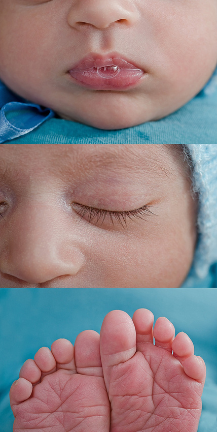 A sweet set of macro images of a newborn baby boy's lips, eyelashes and toes from Tanis Saucier Photography in Montreal.
