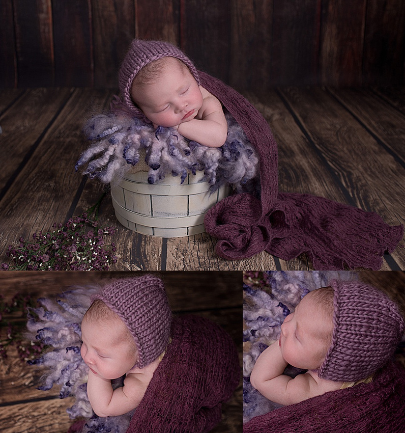 a stunning collage of images of a newborn baby girl posed in a white bucket filled with plum coloured fluff during her baby photo session in montreal with photographer tanis saucier.