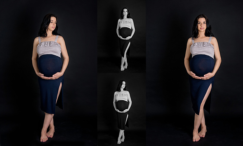 colour and black and white images of a stunning and classy pregnant woman wearing a maternity gown during her maternity photo session with tanis saucier photography in montreal.