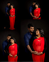a collage of a pregnant couple waring traditional indian dress during their maternity portrait session with tanis saucier photography