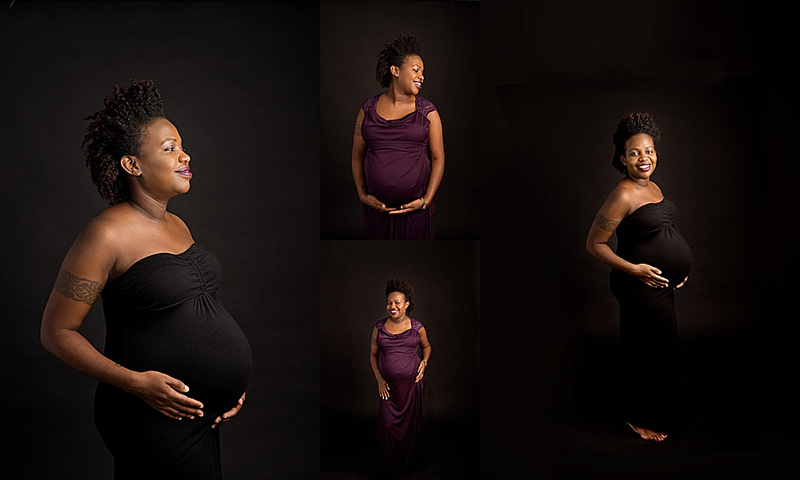 A stunning collage of a pregnant black woman wearing a purple maternity gown during her photoshoot with Tanis Saucier Photography in Saint-Sauveur, Quebec