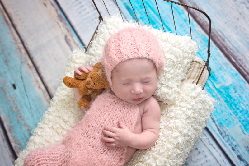 baby girl snuggling a teddy bear in a wire bed prop during her newborn photography session in montreal with Tanis Saucier Newborn Photography.