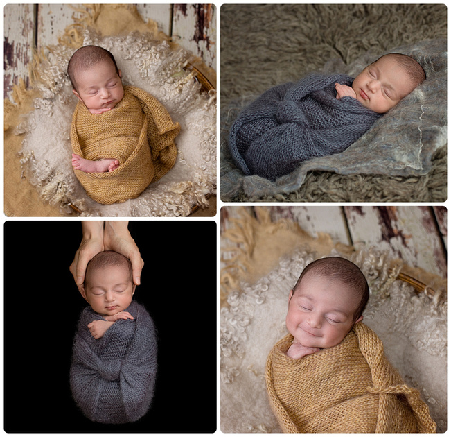 A collage of images showing a newborn girl wrapped and posed at tanis saucier photography studio