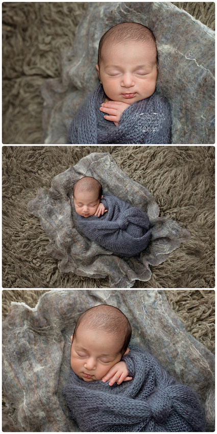 A collage of images showing a newborn girl wrapped in grey coloured knit wrap and posed on a flokati rug during a mini session in montreal at tanis saucier photography studio