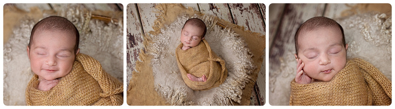 A collage of images showing a newborn girl wrapped in straw coloured mohair wrap during a mini session in montreal at tanis saucier photography studio