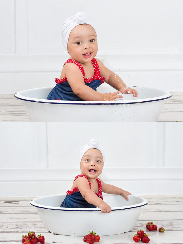 two images of a sweet one year old baby girl in a strawberry bath celebrating her one year milestone with tanis saucier photography