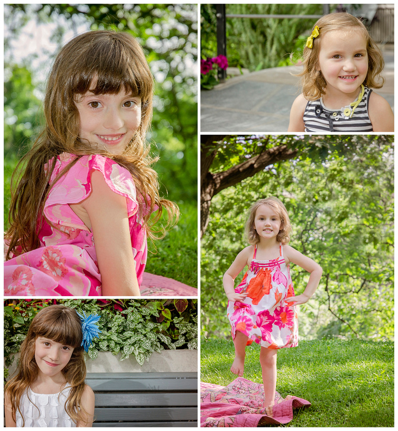 A collage showing the lovely personalities of two sisters during their outdoor photo session with Tanis Saucier Photography