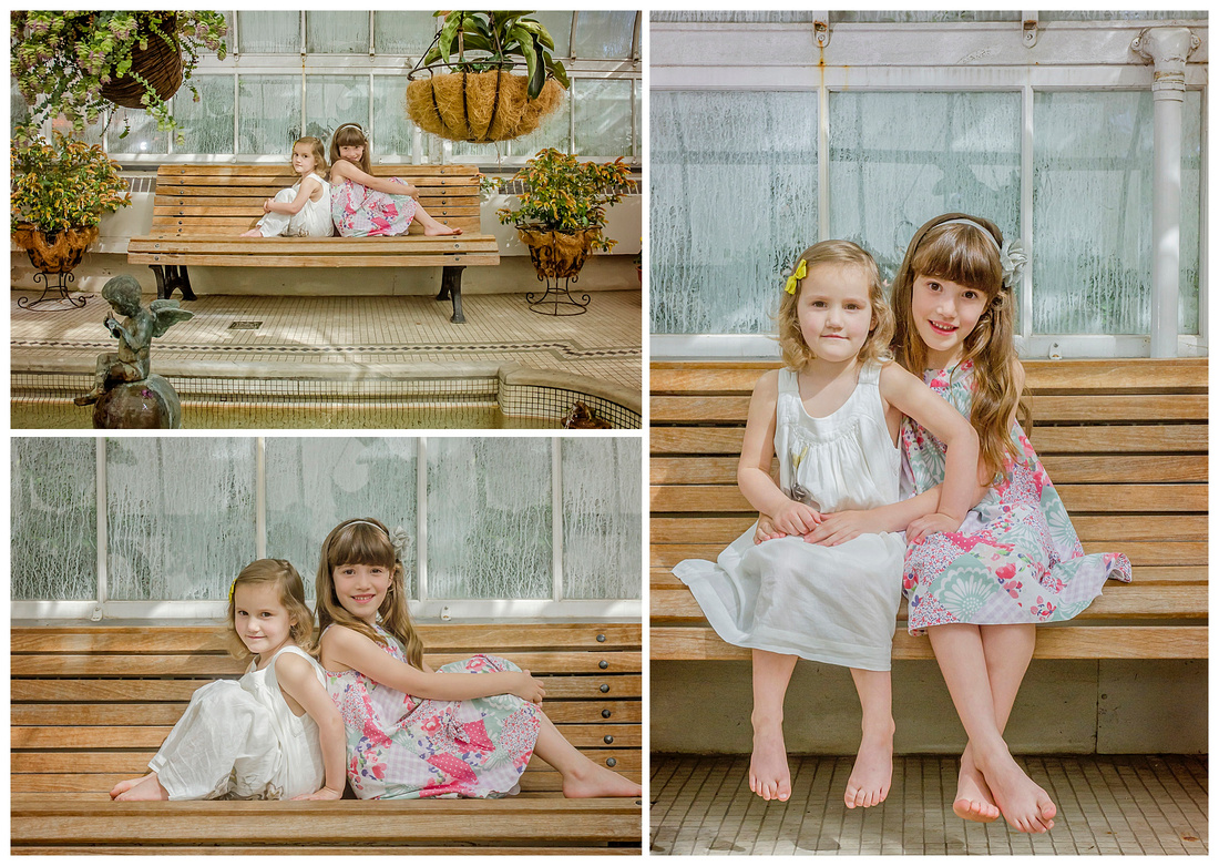 A lovely collage of two young sisters in the Westmount Greenhouse in Montreal during their photo session with Tanis Saucier Photography