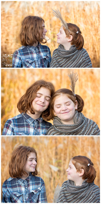 a triptych image of Siblings with red hair in an outdoor fall family session in Saint Sauveur, Quebec with Tanis Saucier Photography.