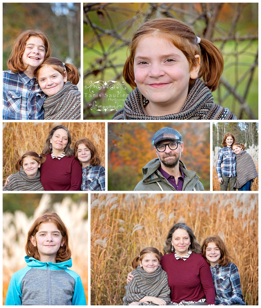 A collage of images with a beautiful family  in an outdoor family fall photo session in Saint Sauveur, Quebec in the Laurentians with Tanis Saucier Photography.