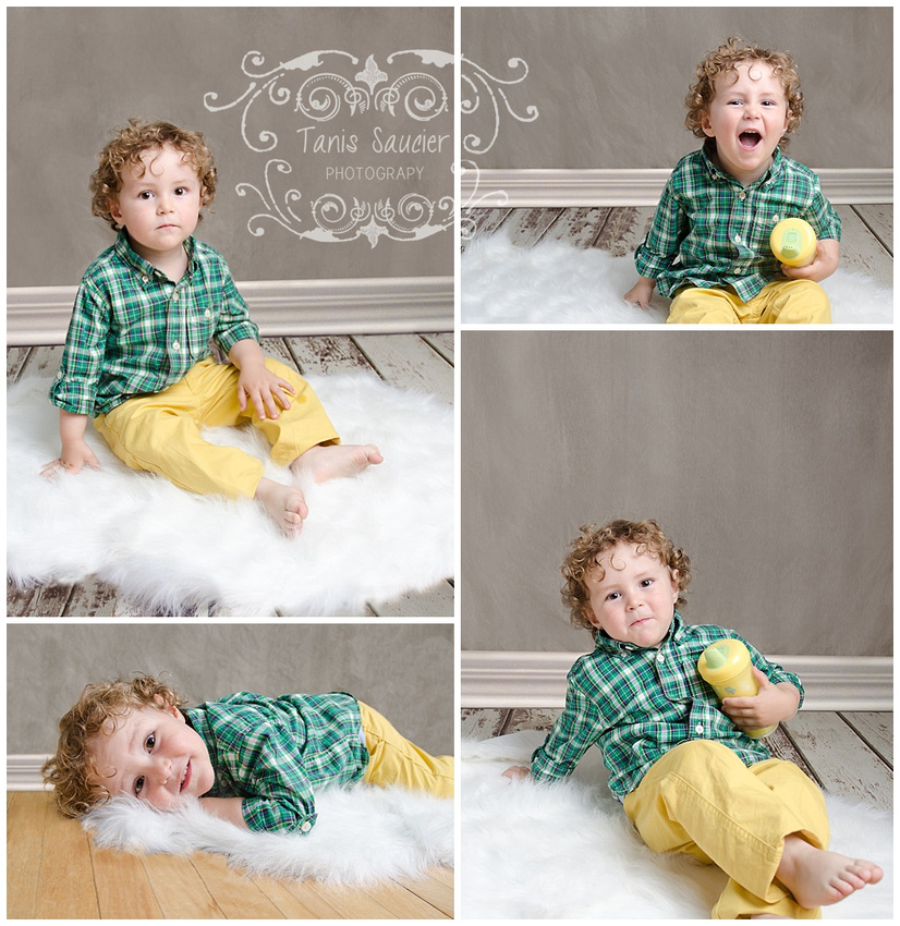 A collage of a young blond haired boy during his in-home photo session with Tanis Saucier Photography