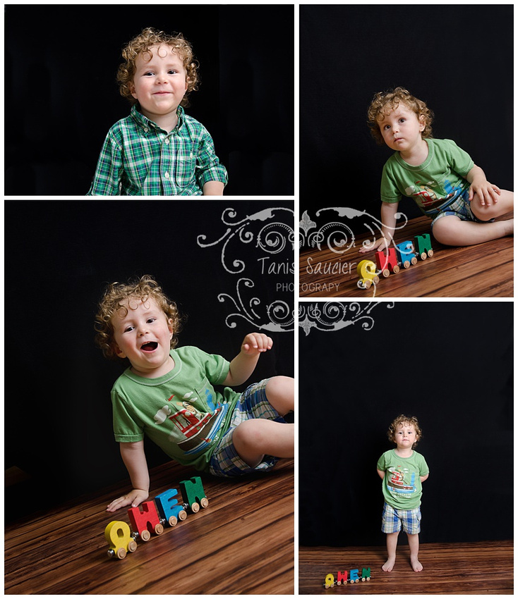 A collage of four images showing a toddler having fun with a name train, on a black background and wood floor
