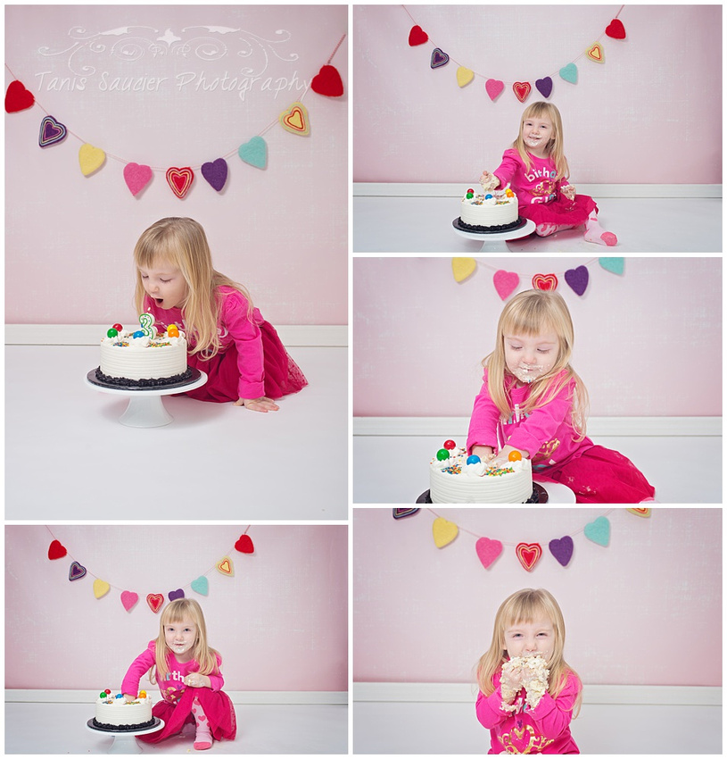 A collage of a three- year old smashing and eating her birthday cake at her cake smash session with Tanis Saucier Photography