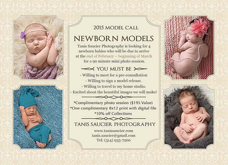 Newborn Model Call by Tanis Saucier Photography announcing the need for newborn models in 2015