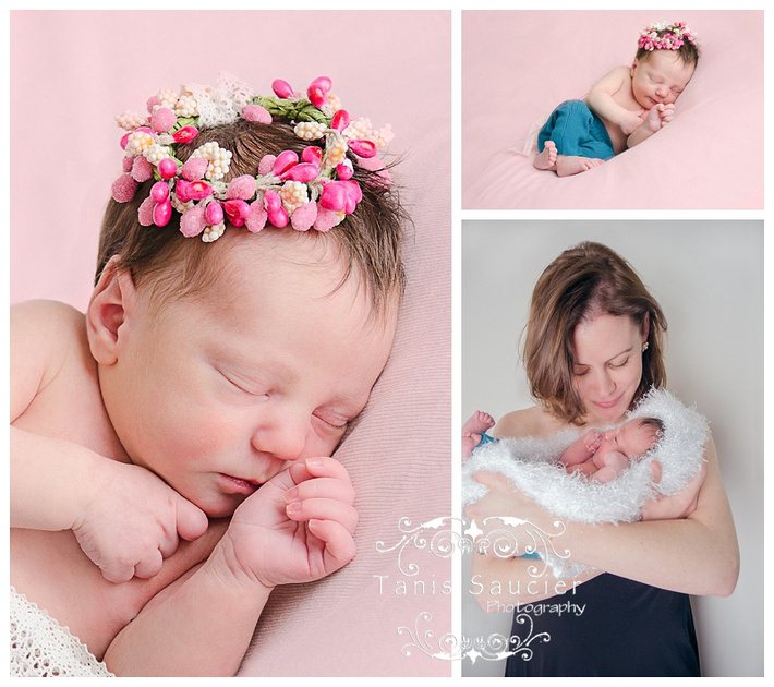 A sweet collage of a newborn baby girl's photo session where she is sleeping peacefully in a sea of pink!